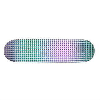 Gradient pink teal turquoise polka dots pattern skateboard