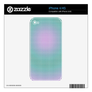 Gradient pink teal turquoise polka dots pattern skins for iPhone 4S