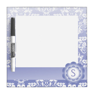 Gradient Purple & White Damask Flower Dry Erase Whiteboard