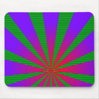 Gradient Red and Purple Sun Rays w/Green Mouse Pad