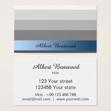 Gradient Silver with Blue Banner Custom Text Business Card