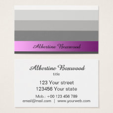 Gradient Silver with Pink Banner Custom Text Business Card