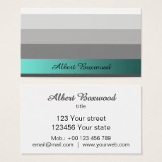 Gradient Silver with Teal Banner Custom Text Business Card