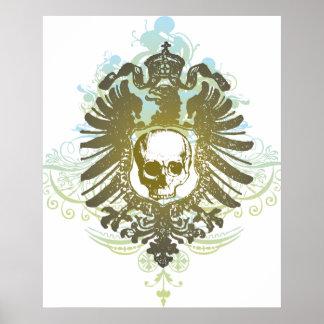 Gradient skull swirls graphic design poster print
