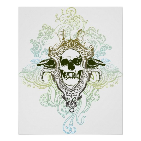 Gradient skull swirls graphic design poster print