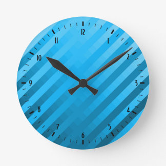 Gradient Stripes / Tropical & Modern Look Round Clocks