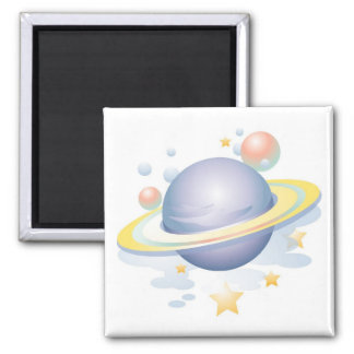 Gradient Style Saturn and Stars Magnet