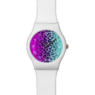 Gradient Tiffany Blue Pink Cheetah Leopard Print Watch