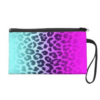 Gradient Tiffany Blue Pink Cheetah Leopard Print Wristlet