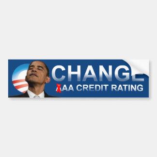 Grado de la solvencia de Obama Etiqueta De Parachoque