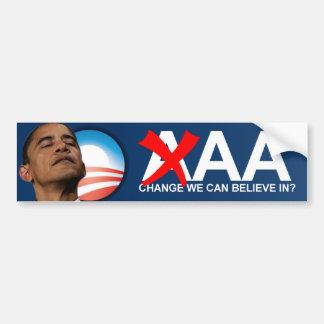 Grado de solvencia del AA de Obama Pegatina De Parachoque