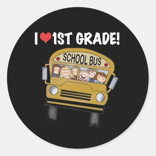Grado del amor del autobús escolar I 1r Etiquetas Redondas