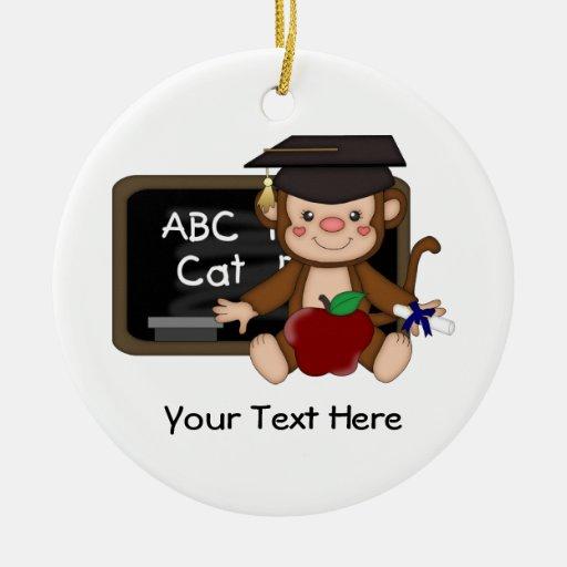 Graduación 1 (personalizable) del mono ornamento para arbol de navidad