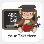 Graduación 1 (personalizable) del mono calcomanías cuadradass personalizadas