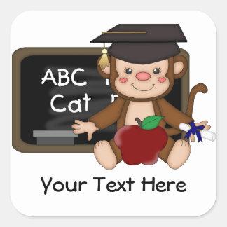 Graduación 1 (personalizable) del mono pegatina cuadrada