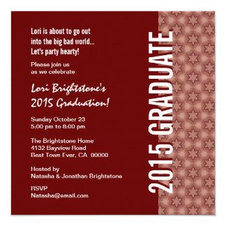 """Graduación 2015 Borgoña y modelo de estrella Invitación 5.25"""" X 5.25"""""""