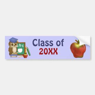 Graduación 2015 del búho del escolar pegatina para auto