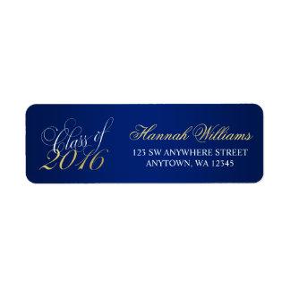 Graduación 2016 del oro de los azules marinos de etiqueta de remite