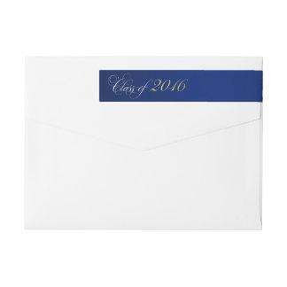 Graduación 2016 del oro de los azules marinos de etiquetas postales