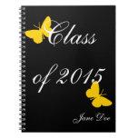 Graduación adaptable - negro y mariposa del oro libro de apuntes