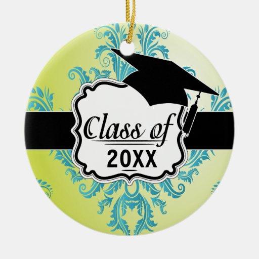 graduación adornada de la turquesa y del damasco adorno redondo de cerámica