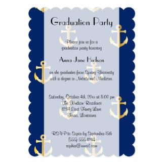 """Graduación - ancla náutica de moda - oro azul invitación 5"""" x 7"""""""