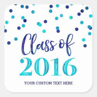 Graduación azul 2016 del confeti de la acuarela pegatina cuadrada