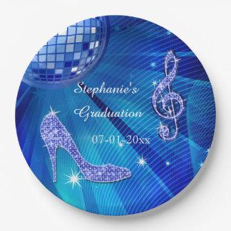 Graduación azul de la bola de discoteca y de los plato de papel de 9 pulgadas