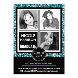Graduación azul de la foto del chica 3 del brillo  anuncios