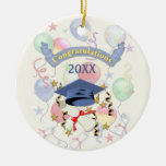 Graduación azul del mortero y del diploma adorno de navidad