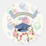 Graduación azul del mortero y del diploma etiqueta redonda