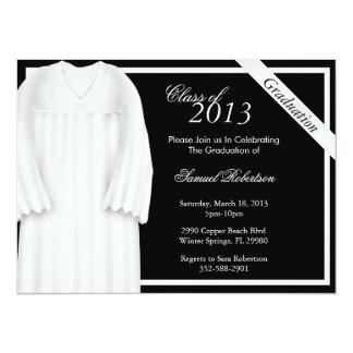 Graduación blanca de moda Annoucement/invitación