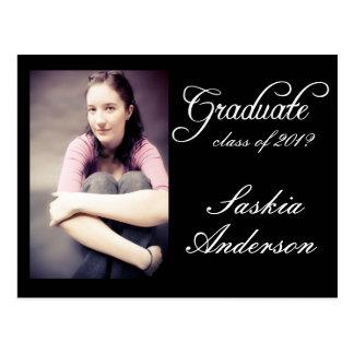 Graduación blanca negra de la foto tarjetas postales