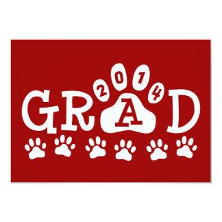 """Graduación blanca roja de las patas de las invitación 5"""" x 7"""""""