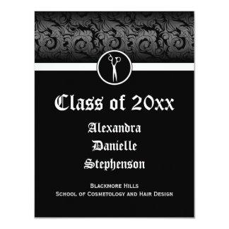 """Graduación blanco y negro de la escuela de la invitación 4.25"""" x 5.5"""""""