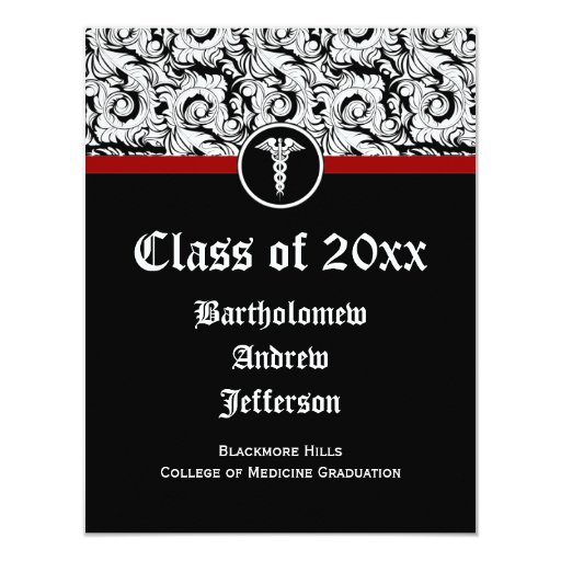 Graduación blanco y negro de la Facultad de Invitación 10,8 X 13,9 Cm