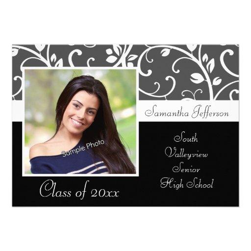 Graduación blanco y negro de la foto de las vides invitaciones personales