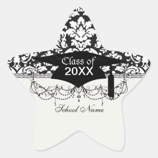 graduación blanco y negro del flourish del damasco pegatina en forma de estrella
