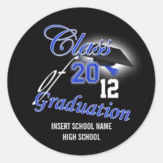 """Graduación """"clase del negro azul"""" de la invitación pegatina redonda"""