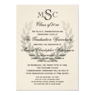 Graduación clásica de la universidad del monograma invitación 11,4 x 15,8 cm