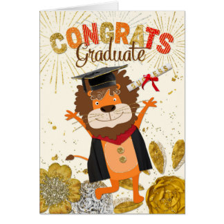 Graduación Congrats - éxito del rugido del dibujo Tarjeta De Felicitación