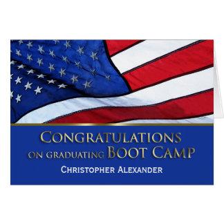 Graduación Congratulations-U.S.Flag de Boot Camp Tarjeta De Felicitación