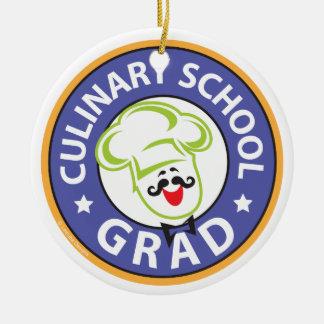 Graduación culinaria de la escuela adorno navideño redondo de cerámica