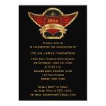 Graduación de alas rojas de la foto del escudo del invitación 12,7 x 17,8 cm