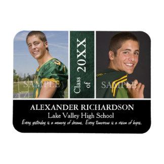Graduación de cuero verde de dos fotos iman rectangular