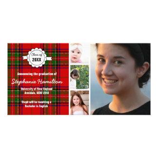 Graduación de encargo de la foto del tartán tarjeta con foto personalizada