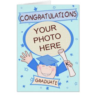 Graduación de encargo del preescolar/del muchacho tarjeta de felicitación