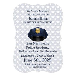 """Graduación de la academia de policía en azules invitación 5"""" x 7"""""""