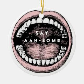 Graduación de la escuela dental adorno navideño redondo de cerámica