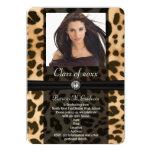 Graduación de la foto de la cinta del leopardo invitación 12,7 x 17,8 cm